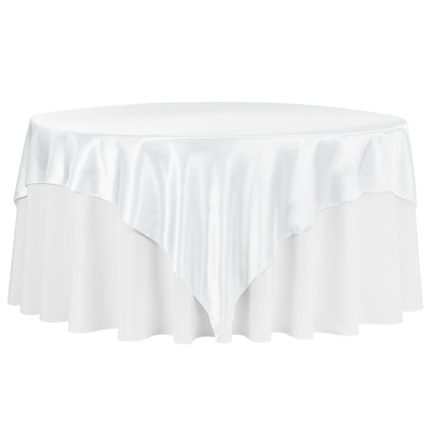 White Square Satin Tablecloth Overlay (230cm x 230cm)