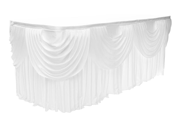 White Ice Silk Satin Table Skirting (8m) + BONUS Clips