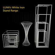 2pc White Pedestal Centrepiece Flower Stand Hour Glass Shape (60cm Tall) Iron Stand Range