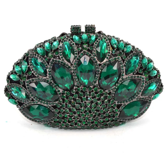 Luxury Emerald Crystal  Evening Minaudiere Clutch Bag(PRE-ORDER)