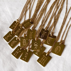 18k Gold Plated Engraved Initial Pendant Necklace