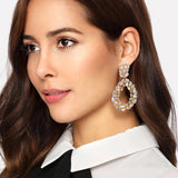 Sparkly Teardrop Statement Crystal Earrings