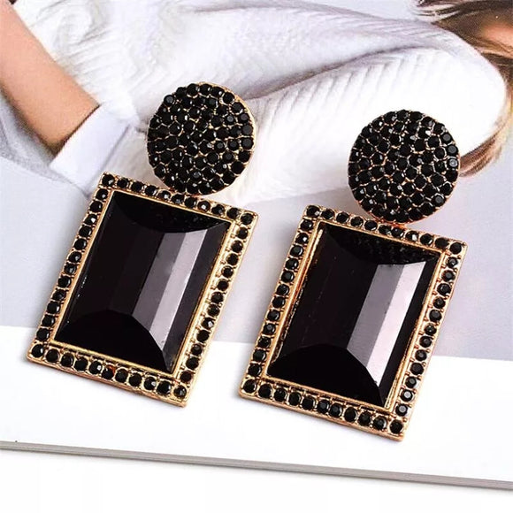 Skylar Geometric Crystal Statement Earrings