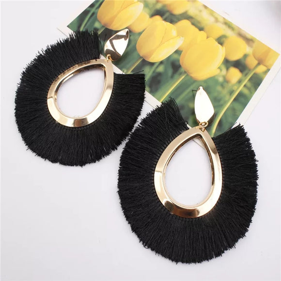 Olivia Oval Fringe Tassel Earrings