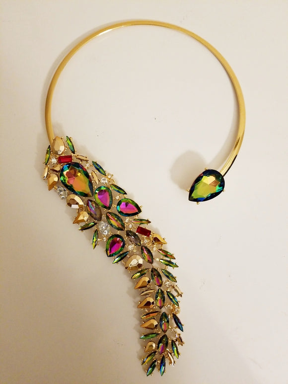 Empress Iridescent Crystal Statement Choker Necklace