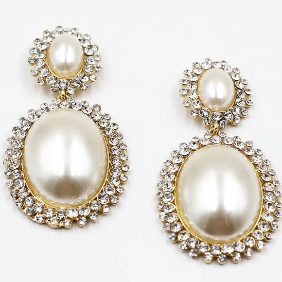 Vintage Inspired Pearl Dangle Earrings