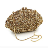 Luxury Gold Crystal  Evening Minaudiere Clutch Bag