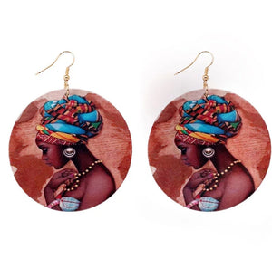 Zola African Queen Round Wooden Earrings