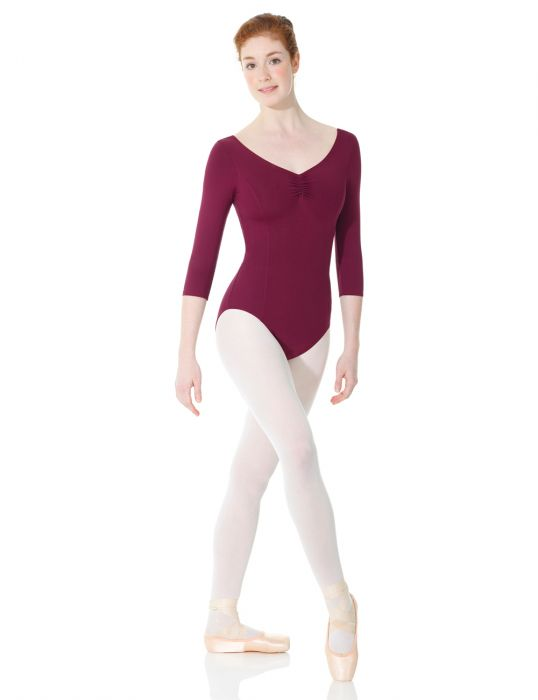 Mondor Matrix ¾ Sleeve Leotard in Aubergin