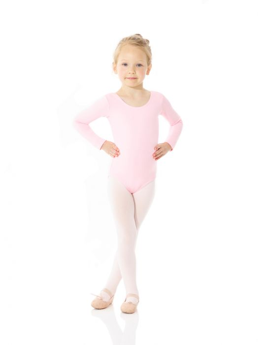 Mondor Cotton Classic Long Sleeve Leotard in True Pink
