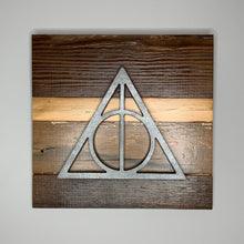 Load image into Gallery viewer, Harry Potter deathly hallows rustic wall art hanging sign