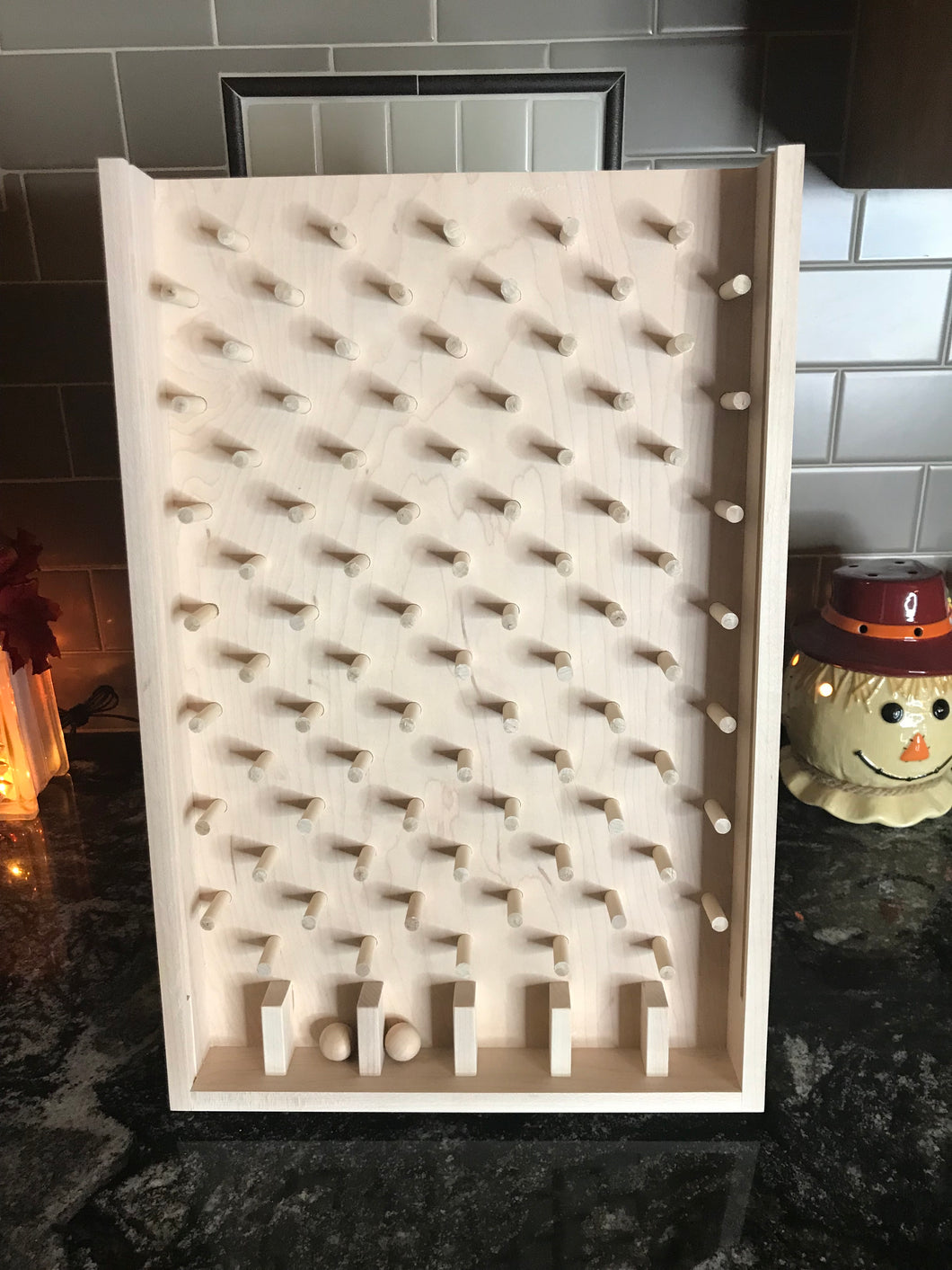 Unfinished wooden plinko game for trade shows and promotion