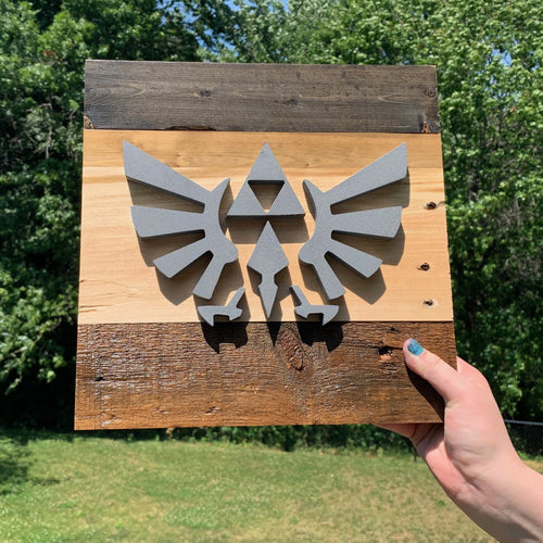 Rustic wall art with Legend of Zelda inspired Hylian Crest