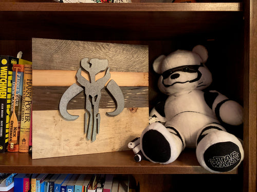 Mandalorian inspired rustic Star Wars wall art - 5 designs including Baby Yoda