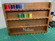 Load image into Gallery viewer, Maple Thread Holder / Thread Organizer for Quilting and Sewing - Larger Shelves for Machine Quilting / Serger thread -- Gift for Quilters