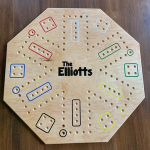 24 inch Personalized Carbles Game | 4 and 6 player sides with custom name engraving