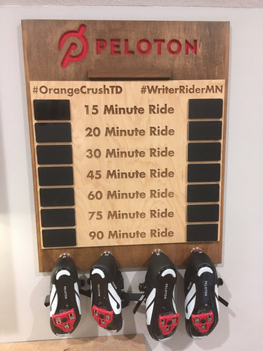 Hang your Peloton, NordicTrack, Soul Cycle or other cycling shoes.