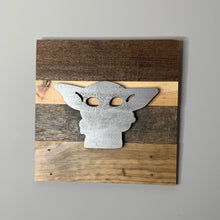 Load image into Gallery viewer, Mandalorian inspired rustic Star Wars wall art - 5 designs including Baby Yoda