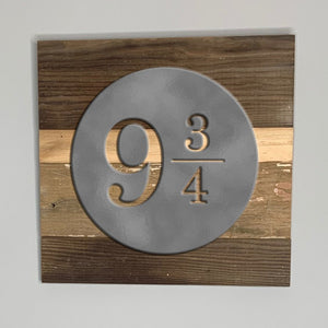 Harry Potter platform 9 and 3 quarters rustic wall art hanging sign