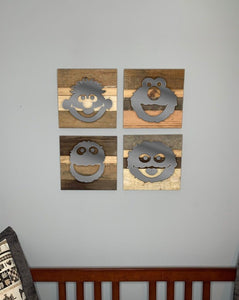 Rustic Wall Art inspired by Sesame Street - 7 designs | Sesame Street Reclaimed Home Decor