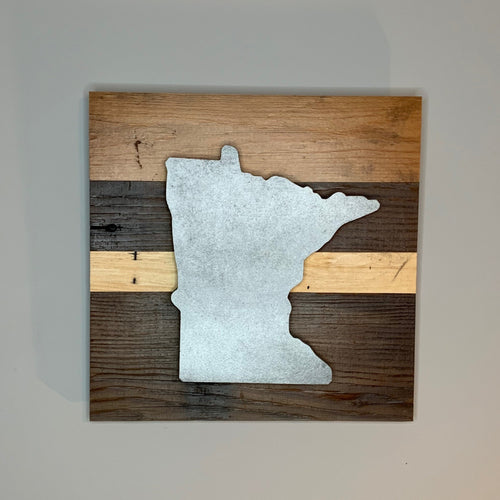 Minnesota Rustic Wall Art | Reclaimed wood art inspired by the state of Minnesota | 7 designs