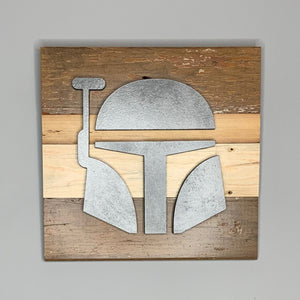 Boba Fett Mandalorian reclaimed wood wall art