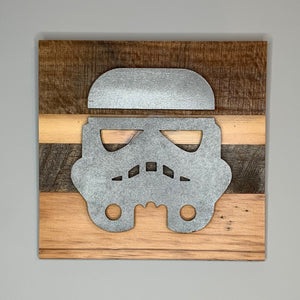 Star Wars stormtrooper reclaimed wood wall art