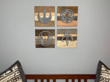 Load image into Gallery viewer, Star Wars symbols rustic wall art Empire Rebels Jedi Mandalorian