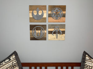 Star Wars symbols rustic wall art Empire Rebels Jedi Mandalorian