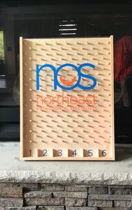 Wooden Custom Logo Plinko board. Twenty four inches by eighteen inches. Customized with your company's logo