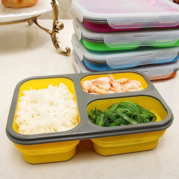 Collapsible 3-Compartment Lunch Box with Spork (multiple colours available) - Lunch Box - Slim Cuisine