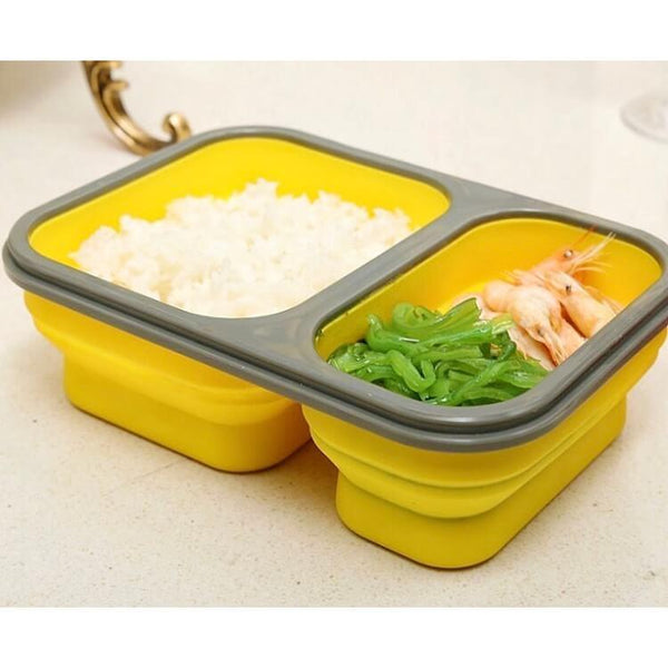 Collapsible 2-Compartment Lunch Box with Spork (multiple colours available) - Lunch Box - Slim Cuisine