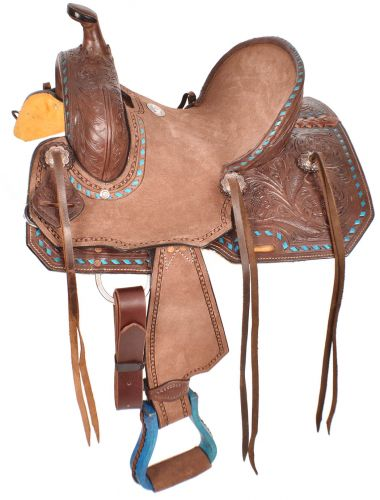 Turquoise Buckstitched Trim w/ Acorn Tooling Youth Saddle 10, 12""