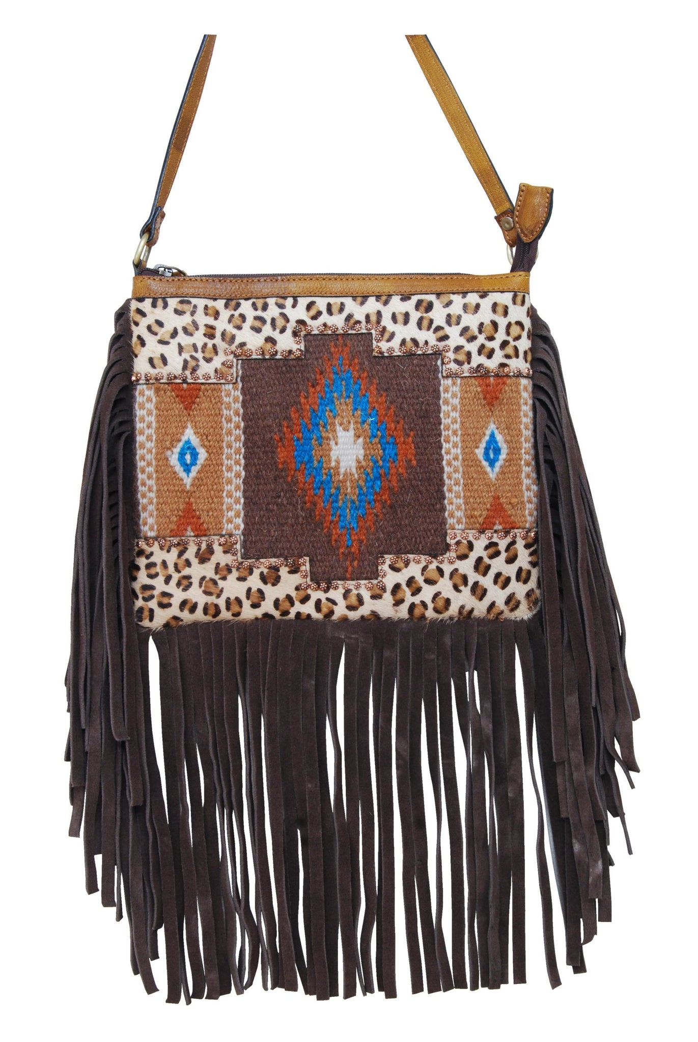 Rafter T Leopard w/ Brown Wool Crossbody