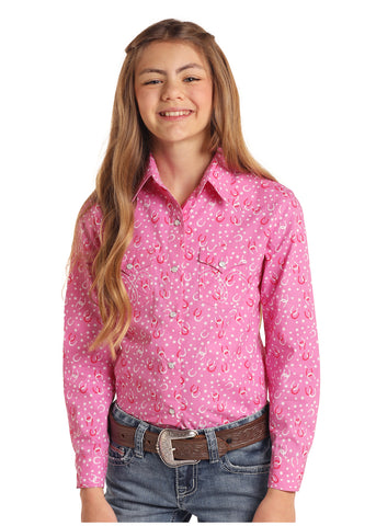 Panhandle Girl's Pink Retro w/ Horseshoe & Stars Snap Shirt