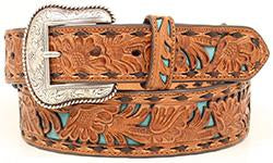 Nocona Turquoise Inlay Floral Belt