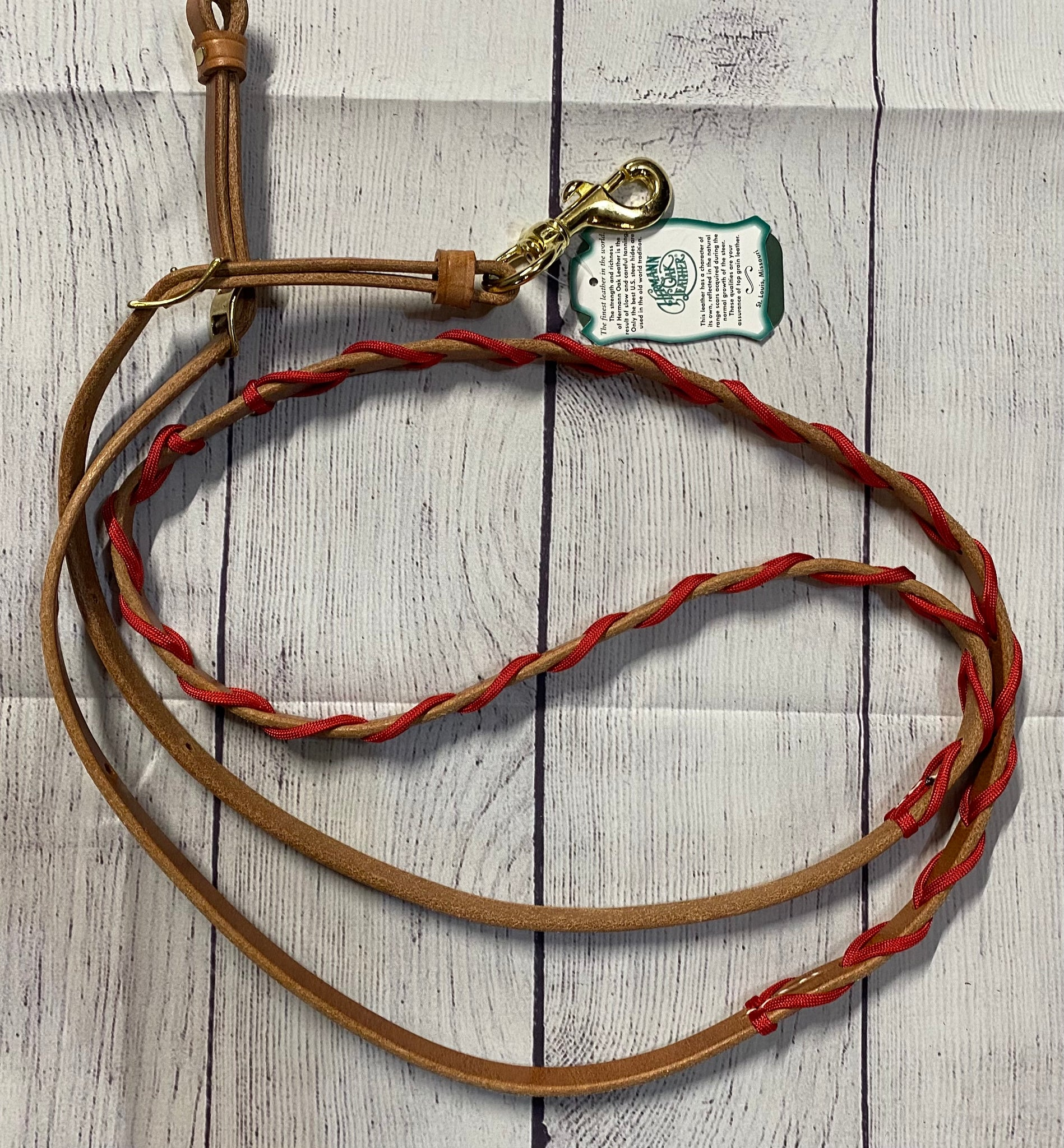 Berlin Leather Contest Reins w/ Red Plait