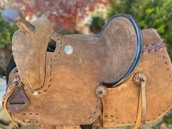 Buckstiched Roughout Youth Barrel Saddle 10, 12, 13""