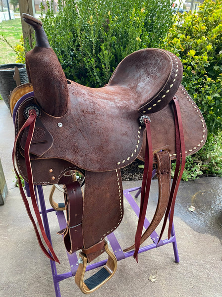 SRS Saddlery by Paul Taylor Chocolate Roughout Buckstitched Barrel Saddle