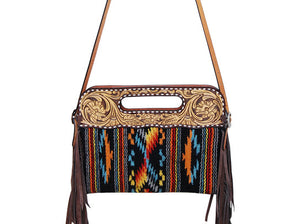 Rafter T Clutch Woolen Crossbody w/Tooling & Fringe Black