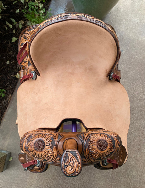 SRS Saddlery by Paul Taylor Tooled Sunflower Barrel Saddle