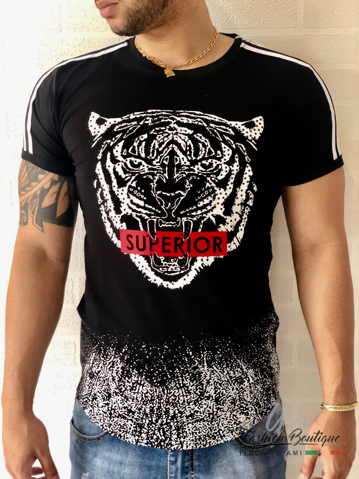 0385971e1 YJF-Superior Tiger Rhinestone Graphic T-shirt with Doubles Stripes T6280