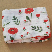 Load image into Gallery viewer, Cotton Muslin Baby Blanket Swaddle Red Rose Swaddle zelnaga.myshopify.com AllAboutBB AllAboutBB