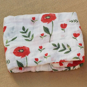 Cotton Muslin Baby Blanket Swaddle Red Rose Swaddle zelnaga.myshopify.com AllAboutBB AllAboutBB