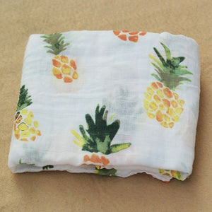 Cotton Muslin Baby Blanket Swaddle Pineapple Swaddle zelnaga.myshopify.com AllAboutBB AllAboutBB