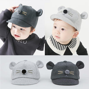 Cute Cartoon Cat Design Baby Baseball Cap  Baby Caps & Hats zelnaga.myshopify.com AllAboutBB AllAboutBB