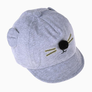 Cute Cartoon Cat Design Baby Baseball Cap Light Grey Baby Caps & Hats zelnaga.myshopify.com AllAboutBB AllAboutBB
