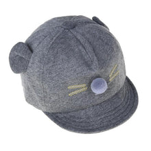 Load image into Gallery viewer, Cute Cartoon Cat Design Baby Baseball Cap Dark Grey Baby Caps & Hats zelnaga.myshopify.com AllAboutBB AllAboutBB