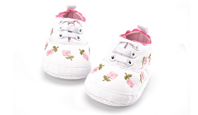 Baby Girl White/Pink Floral Embroidered Lace Shoes White / 13-18 Months Baby Shoes zelnaga.myshopify.com AllAboutBB AllAboutBB
