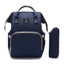 Load image into Gallery viewer, Designer Baby Diaper Backpack with USB charging Dark Blue Diaper Bags zelnaga.myshopify.com AllAboutBB AllAboutBB